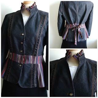 Denim peplum jacket refashioned by karenvallerius.co.uk