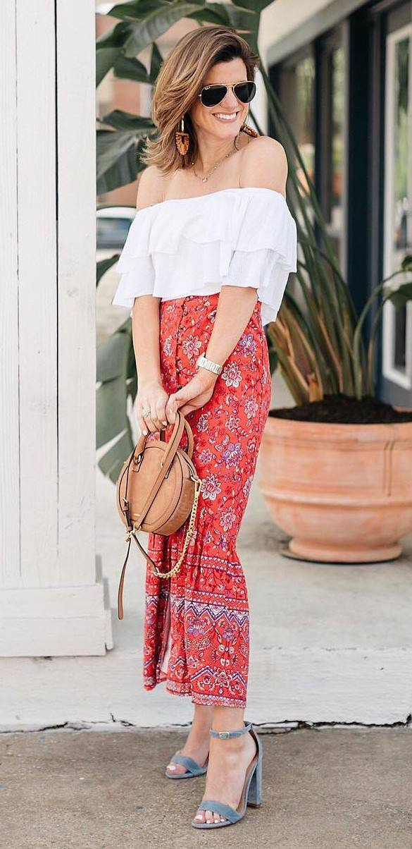 what to wear with a round bag : white off sholder top + heels + printed maxi skirt