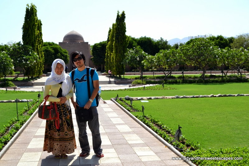 Lady and Ed in Sultan Qaboos Grand Mosque
