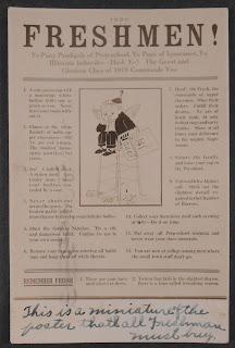 A printed poster addressing Freshmen.