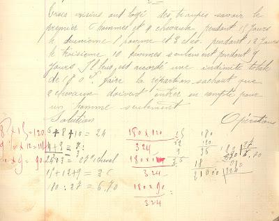 Problème, cahier de devoirs journaliers, 1894 (collection musée)