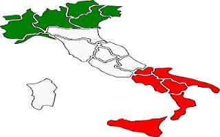 Nord Centro Sud Italia colorata