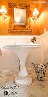 Fantastic Powder Room Remodel with Vintage Pedestal Sink from Craigslist! TAKE A LOOK!
