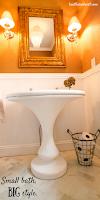Fantastic Powder Room Remodel with Vintage Pedestal Sink from Craigslist!  TAKE A LOOK!