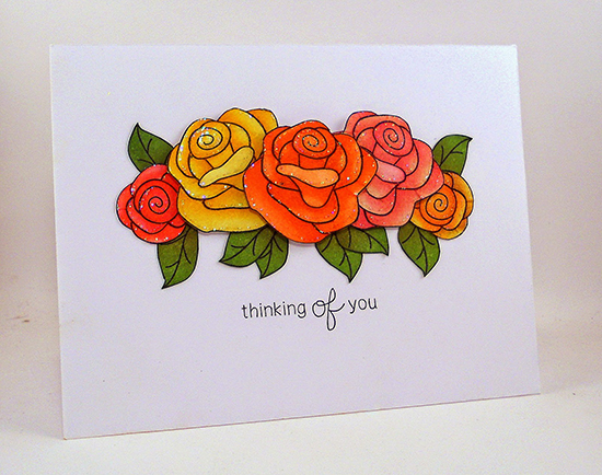 Thinking of You Rose card by Kelly Latevola | Love Grows stamp set by Newton's Nook Designs #newtonsnook
