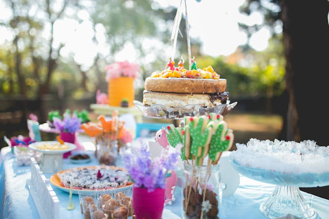 Aniversário Tema Dinossauro - Meninas - DIY - nacked cake
