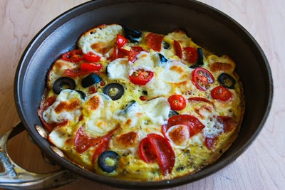 Low-Carb Egg-Crust Breakfast Pizza with Pepperoni, Olives, Mozzarella, and Tomatoes found on KalynsKitchen.com