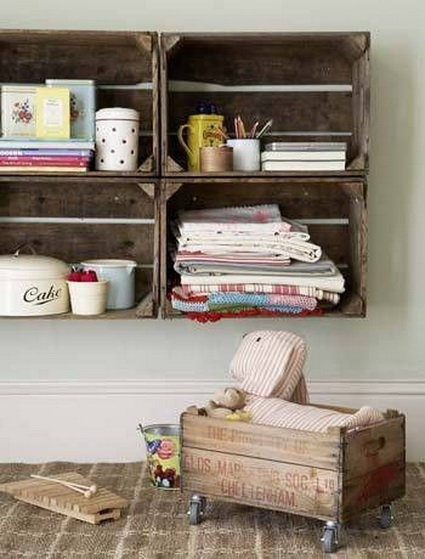 Decorate with old wooden crate boxes 4