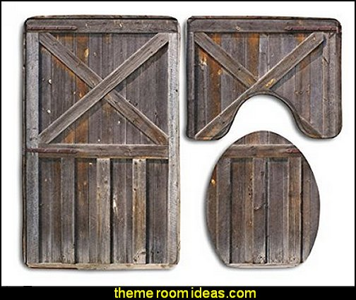 Bathroom Rug Old Wooden Barn Door Of Farmhouse Oak Countryside Village Board Rural Life 3 Piece Bath Mat Set