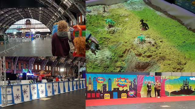 collage showing Ice rink, superhero area, huge size of Manchester Central, dinosaur world
