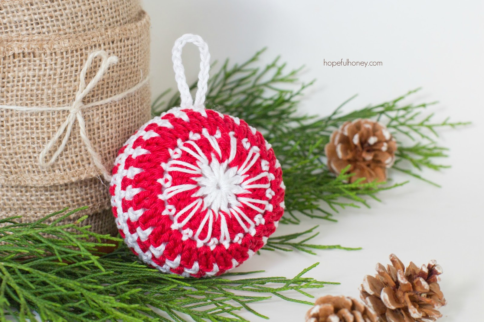 Free Crochet Pattern Christmas Bauble : Hopeful Honey Craft, Crochet, Create: Candy Cane ...