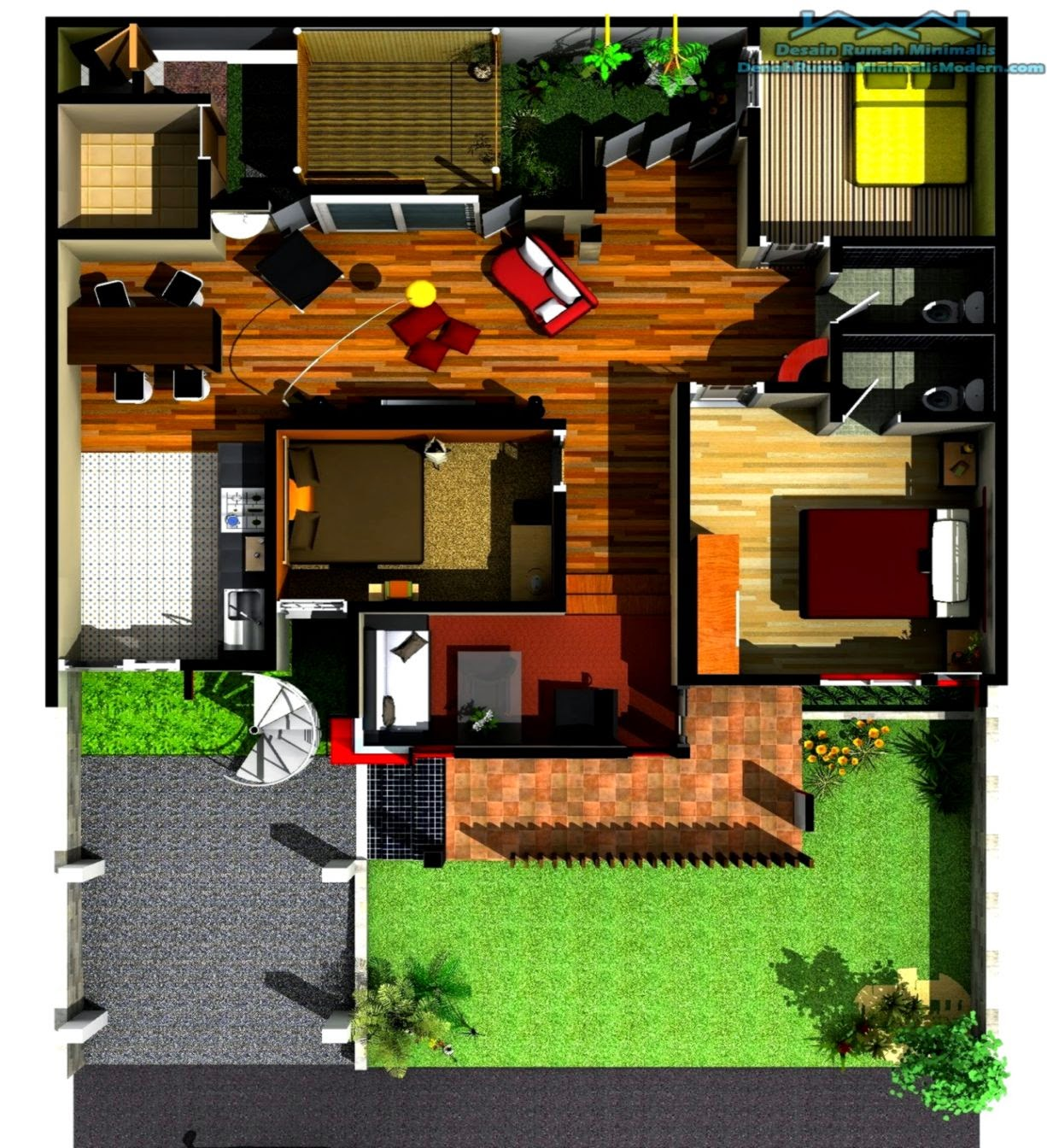 Desain Rumah Minimalis Sederhana 1 Lantai 3 Kamar Tidur ...