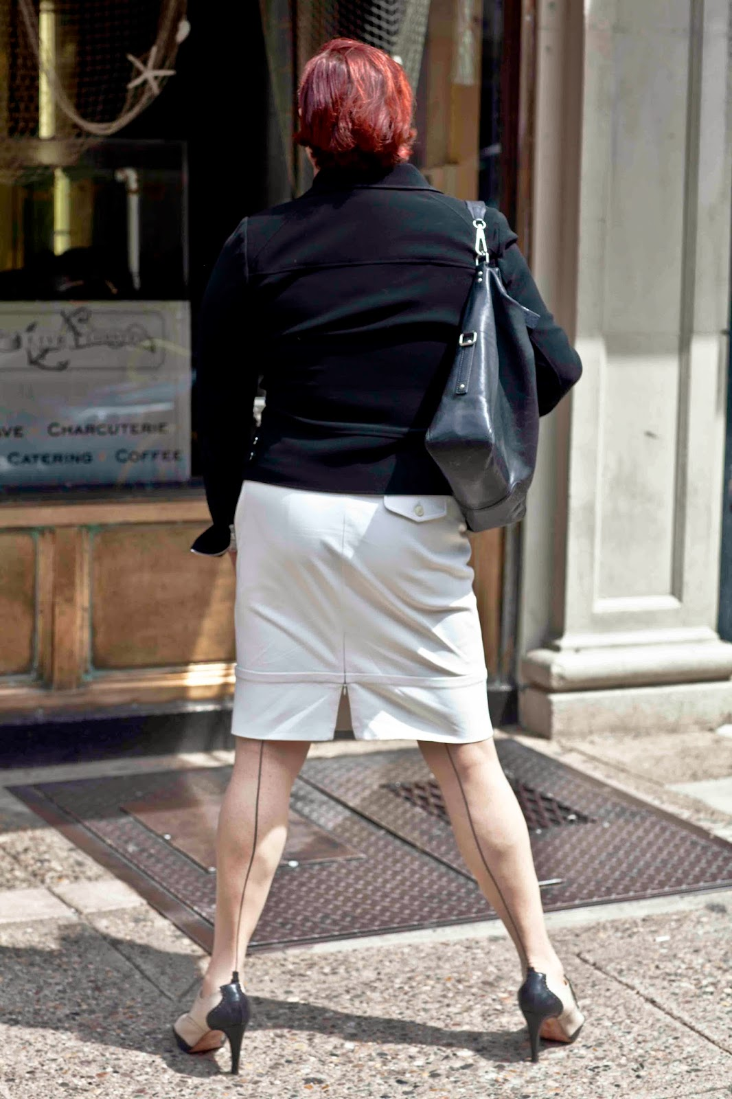 Black White And Back Seamed Stockings