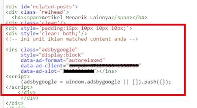 Cara Memasang Iklan Matched Content pada Blog