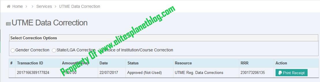 JAMB UTME Data Correction Page