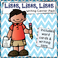 Word cards and corresponding lists for the writing center