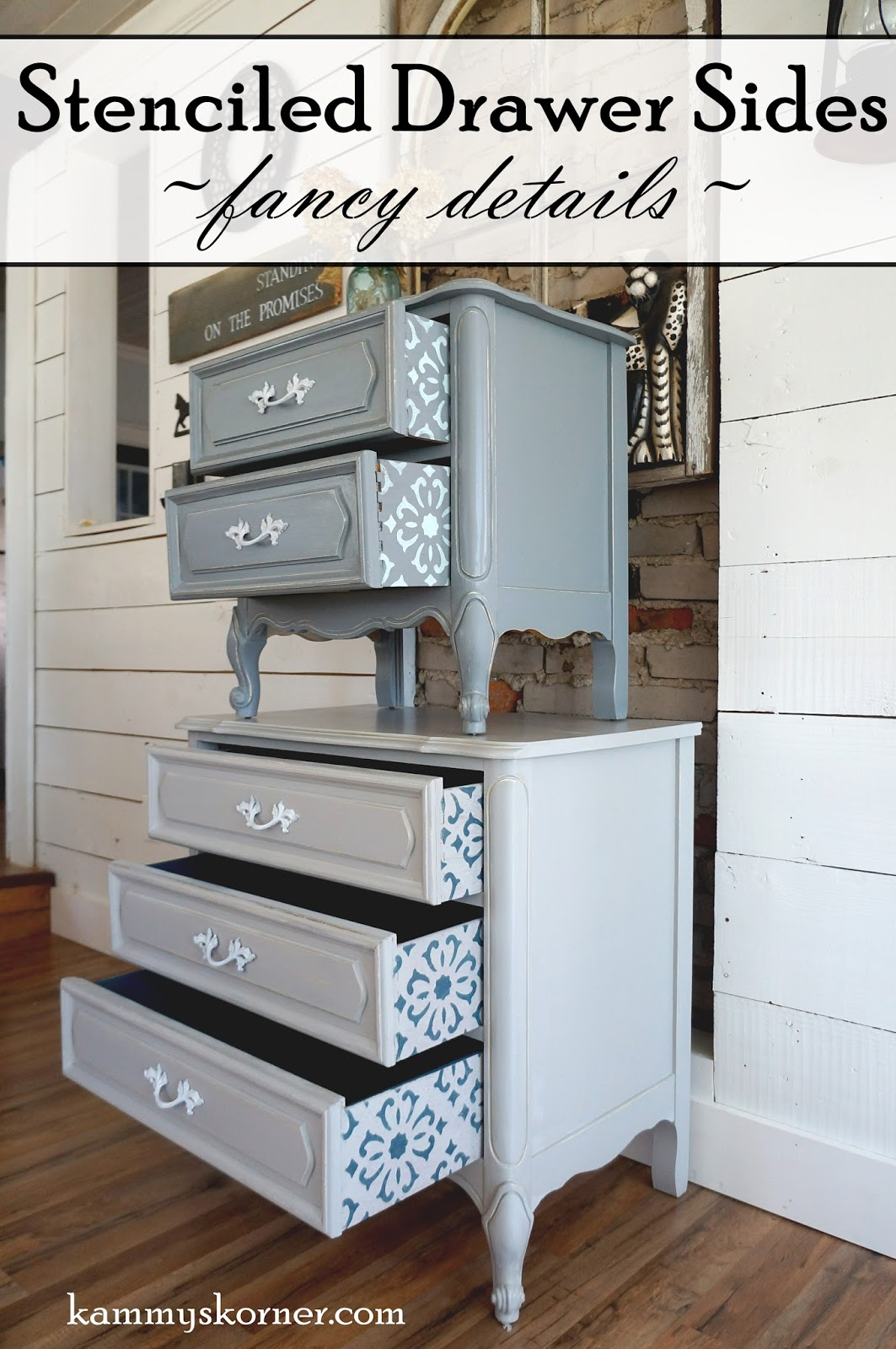 Delightful Details! French Provincial Nightstands With Stenciled Drawers