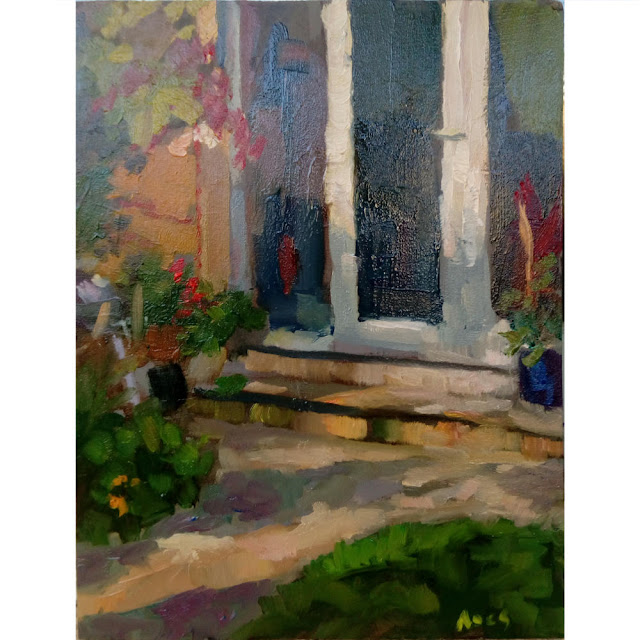 A still life demonstration in oils on panel from life of my garden seen from the studio