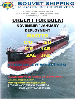 urgent job hiring for seaman Filipino crew work on Bulk carrier ships deployment November-January