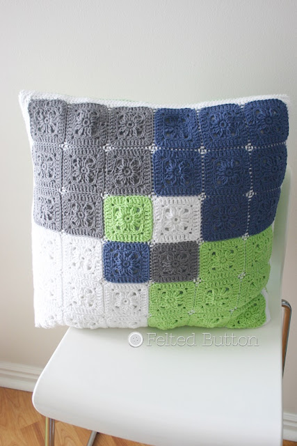 Taking Shape Pillow Set Crochet Pattern -- Color-Block Pillow by Susan Carlson of Felted Button