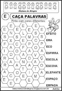 Caça palavras letra E