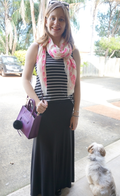 AwayFromBlue | Skull scarf and striped tank casual maxi skirt outfit colourful accessories