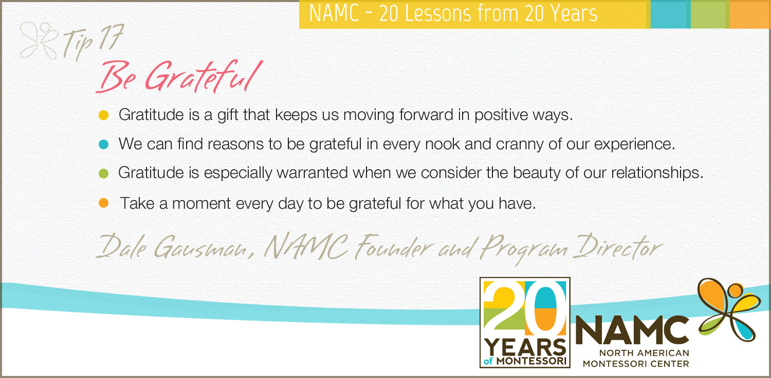 namc montessori 20 lessons years be grateful