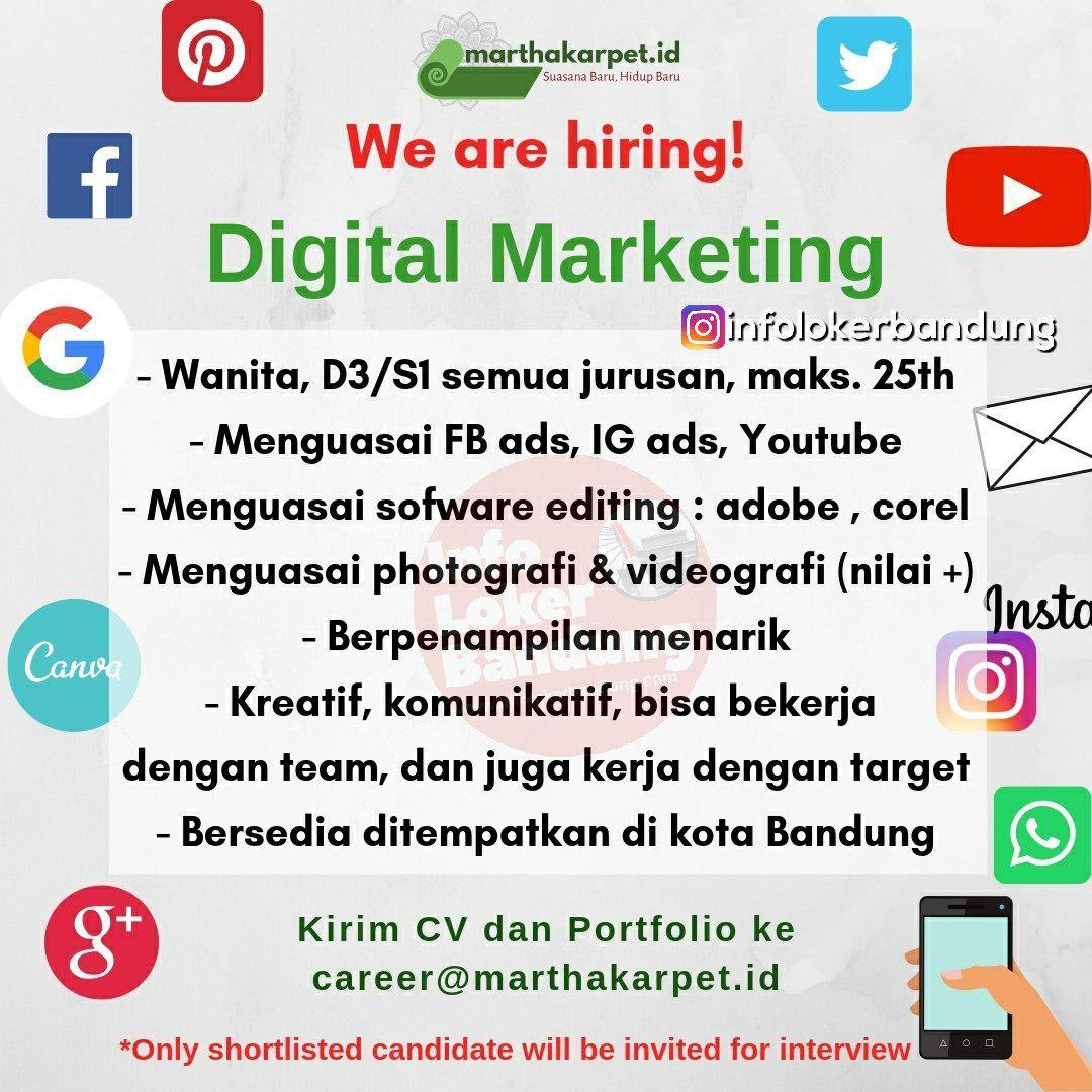 Lowongan Kerja Digital Marketing Martha Karpet Bandung Februari 2019