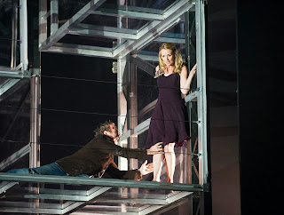 A scene from Fidelio by Beethoven @ London Coliseum. An English National Opera production. Directed by Calixto Bieito. Conducted by Edward Gardner. Adrian Dwyer & Sarah Tynan  ©Tristram Kenton