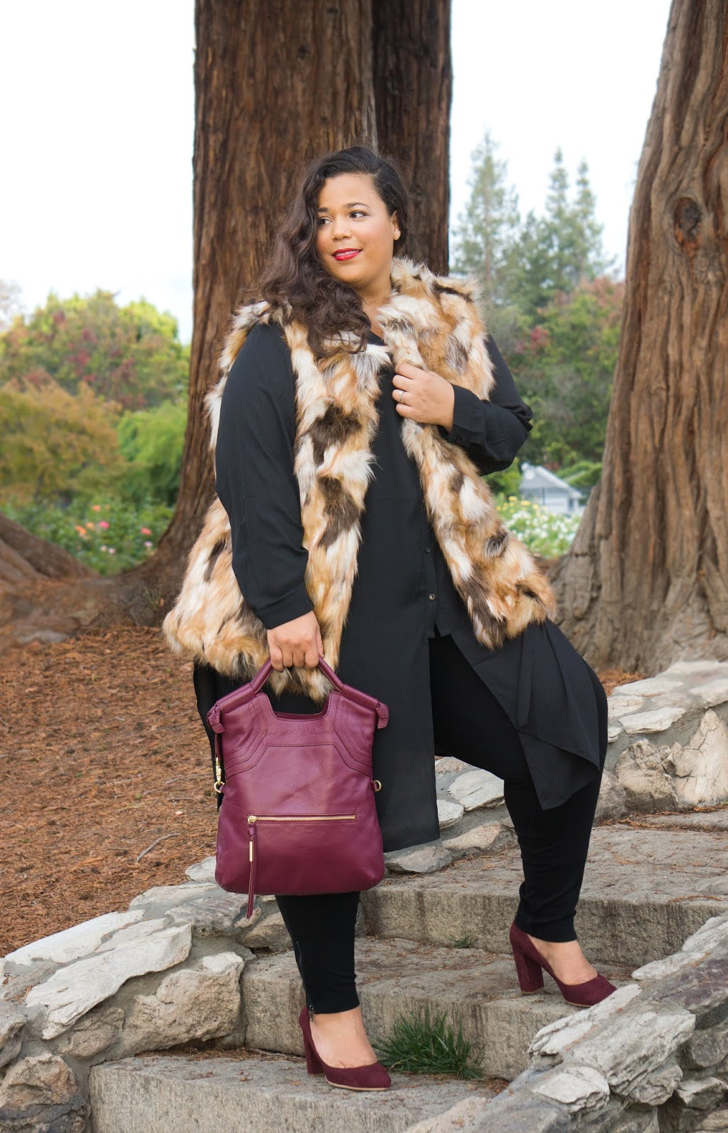 Plus Size Winter Looks, Plus size faux fur vest