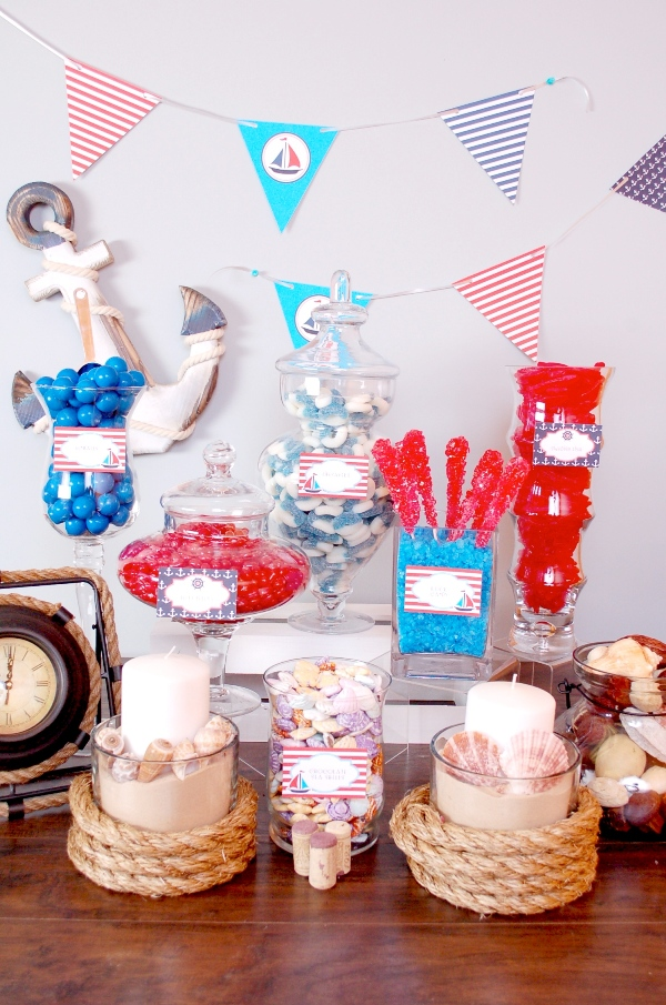 How to Style a Nautical Candy Buffet - via BirdsParty.com