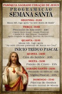 A Paróquia do Sagrado Coração de Jesus e a programação para Semana Santa 2016 em Teresópolis