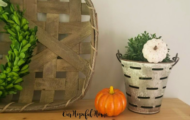 farmhouse shelves fall decor tobacco basket pumpkins boxwood wreaths