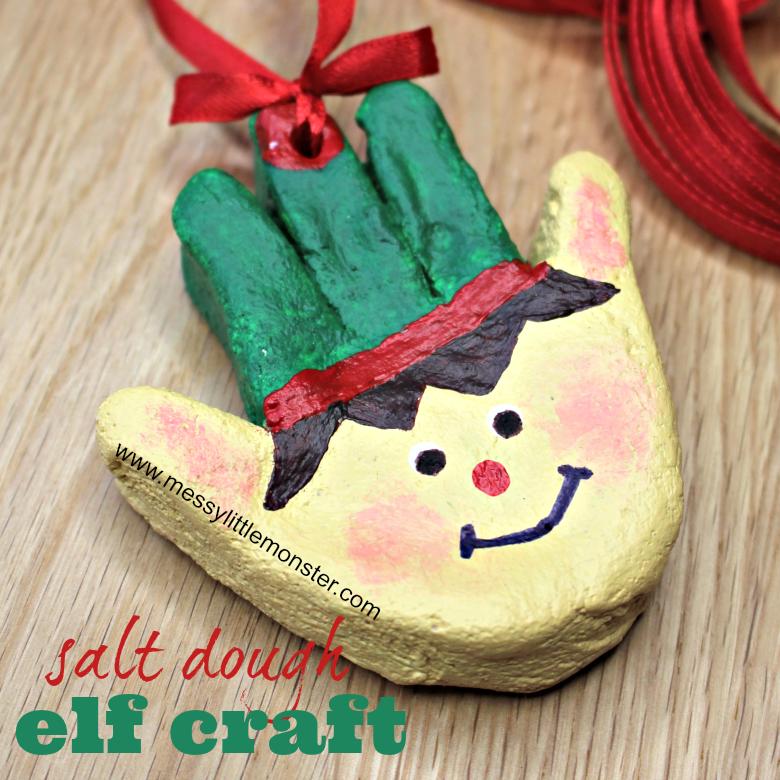 Salt dough handprint ornaments. Christmas elf craft for kids.