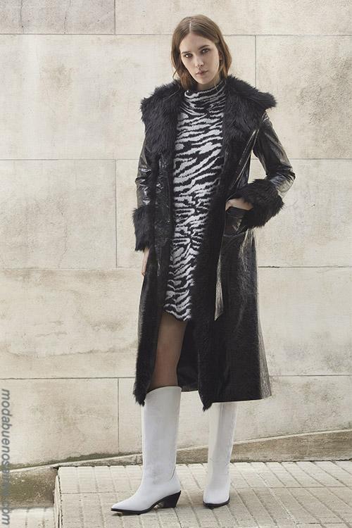 MODA CASUAL CHIC OTOÑO INVIERNO 2019: Animal print cebra vestidos otoño invierno 2019. Tapados de cuero 2019.