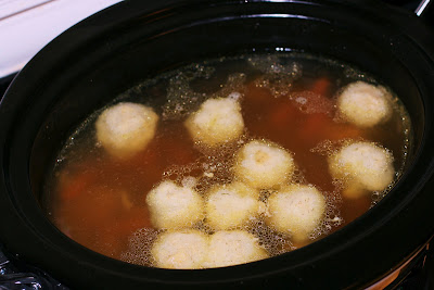 matzah ball soup in the slow cooker from Stephanie O'Dea at ayearofslowcooking.com