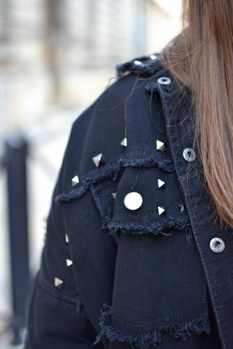 veste en jean noir Clouté Shein