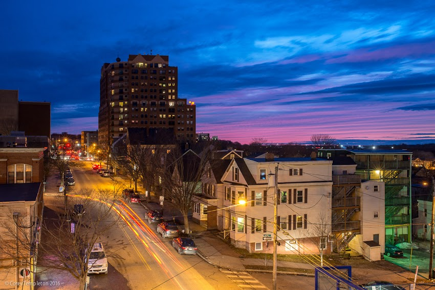 Portland, Maine USA February 2016 Photo by Corey Templeton of last light of a sunset over Cumberland Avenue.