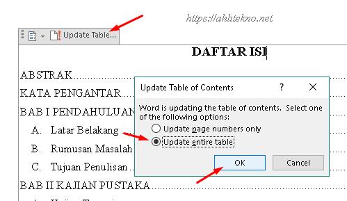 cara membuat daftar isi otomatis di microsoft word - update table of contents