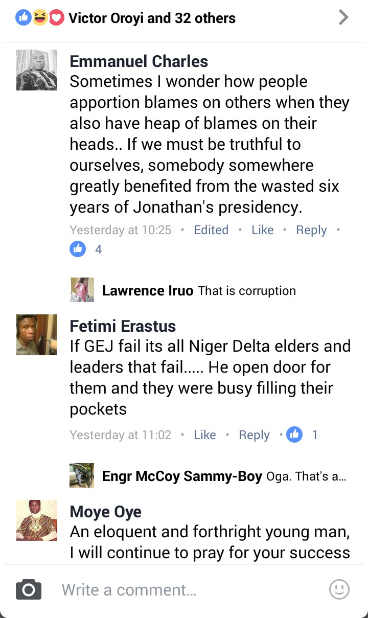 Screenshot of Facebook comments about Jonathan's wasted time in Presidency