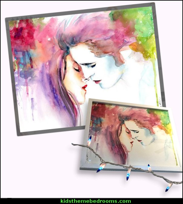 Twilight Bella and Edward Kiss Watercolor Painting Print