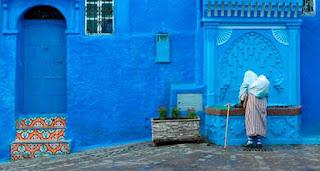 La calle Azul de Chefchaouen, Marruecos