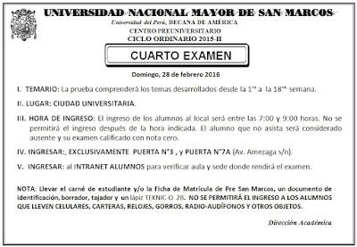 Resultados Pre San Marcos segundo examen 28 de febrero Ciclo Ordinario 2015-II