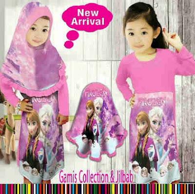 Model Baju Muslim Frozen Buat Anak Perempuan Terbaru