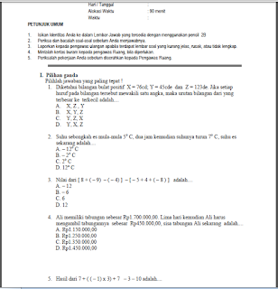 Soal UTS Kelas 7 Semester 1 Kurikulum 2013