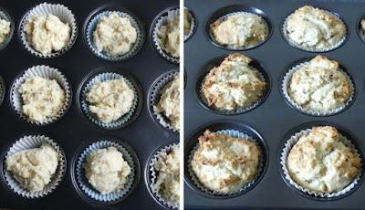Hawaii Muffins vor und nach dem Backen (Hawaiian Muffins)