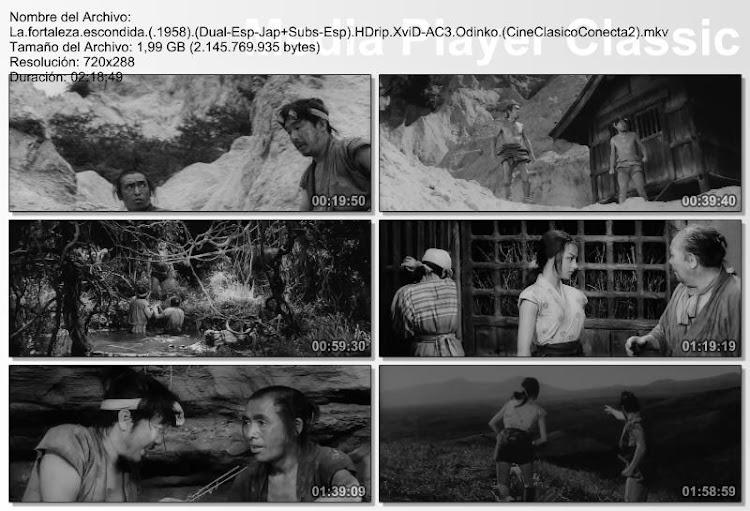 La fortaleza escondida (1958), capturas, secuencias de la película