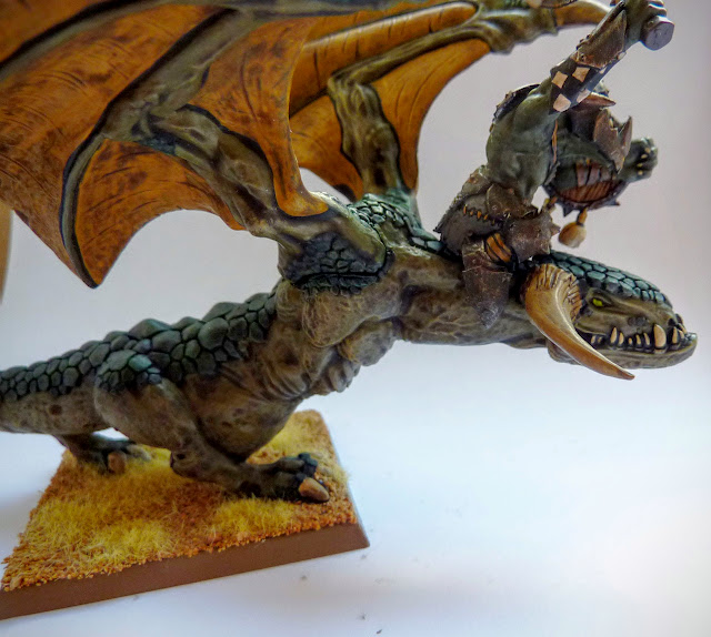 A painting and conversion update for an Orc Warboss on Wyvern for Orcs & Goblins, Warhammer Fantasy Battle.