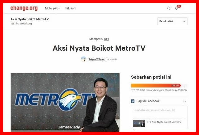 Mantap!!! Petisi Boikot MetroTV Sudah Mencapai 100 Ribu Lebih