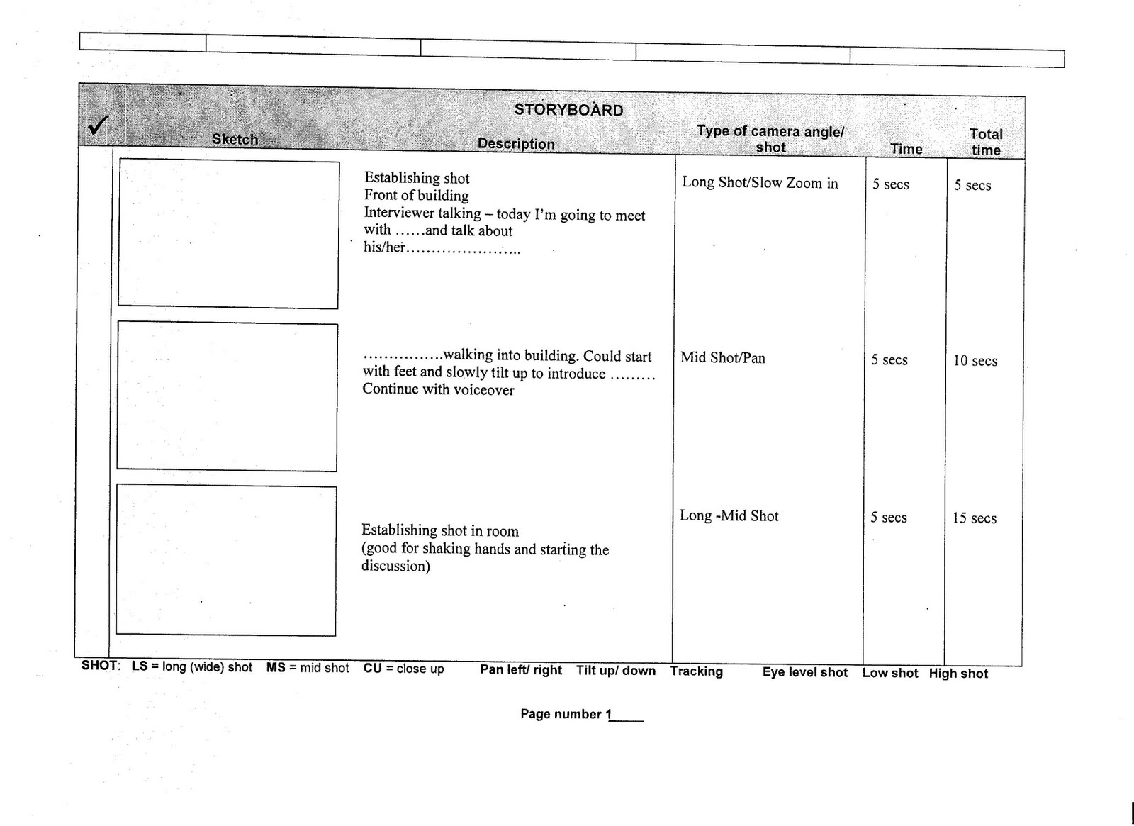 Storyboard Template And Script Example